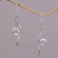 Sterling silver dangle earrings, 'Spectacular Serpent' - Sterling Silver Snake Earrings with Bun Motifs from Bali