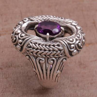 Amethyst and Sterling Silver Cocktail Ring from Bali