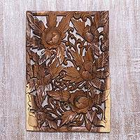 Wood relief panel, 'Floral Canopy' - Hand-Carved Intricate Floral Wood Relief Panel from Bali