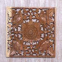 Wood relief panel, 'Blooming Symmetry' - Hand-Carved Square Floral Suar Wood Relief Panel from Bali