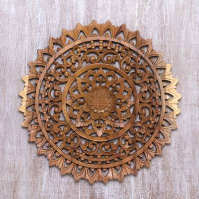 Wood relief panel, 'Sun Bloom' - Hand-Carved Circular Floral Suar Wood Relief Panel from Bali