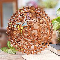 Wood relief panel, 'Floral Om Corona' - Hand-Carved Floral Om Suar Wood Relief Panel from Bali