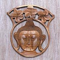 Wood relief panel, 'Tranquil Buddha' - Hand-Carved Floral Buddha Suar Wood Relief Panel from Bali