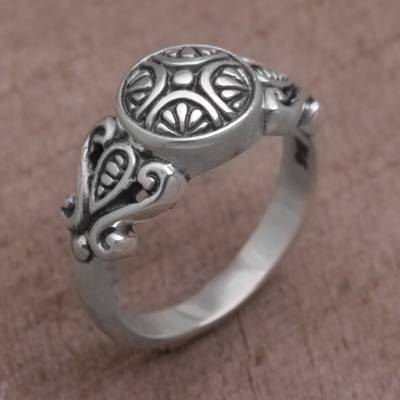 silver ring low price ink - Handcrafted Sterling Silver Round Cocktail Ring from Bali