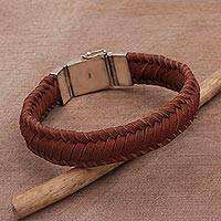 Leather wristband bracelet, 'Kintamani Weave in Brown' - Braided Leather Wristband Bracelet in Brown from Bali