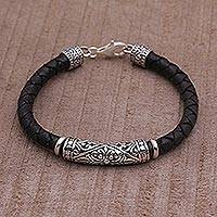 Leather and sterling silver bracelet, 'Lost Kingdom' - Handmade Black Leather and Sterling Silver Bracelet