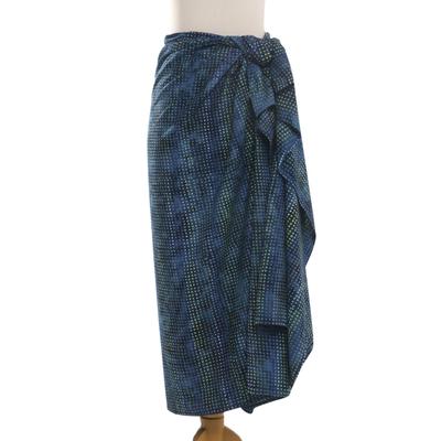 Handmade Navy Cotton Blend Sarong with Batik Print