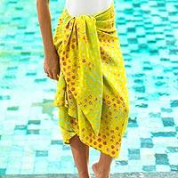 Cotton blend batik sarong, 'Happy Morning' - Yellow Cotton and Rayon Blend Sarong with Batik Print