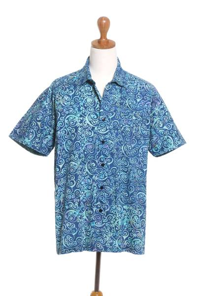 Men's batik cotton shirt, 'Ocean Waves' - Men's Short Sleeved Wave Print Cotton Shirt from Bali
