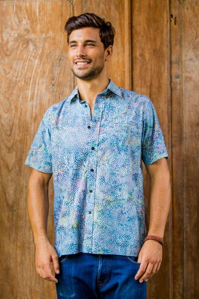 Men's batik cotton shirt, 'Pebble Road' - Men's Short Sleeved Button Up Shirt from Indonesia