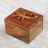 Wood decorative box, 'Protective Gecko' - Handcrafted Suar Wood Gecko Decorative Box from Bali