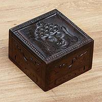 Wood decorative box, 'Buddha Bliss' - Hand Carved Wood Box with Buddha Image from Indonesia