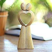 Crocodile wood statuette, 'United Heart' - Abstract Crocodile Wood Statuette of Couple from Bali
