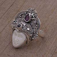 Amethyst cocktail ring, 'Janger Crown' - Amethyst and Sterling Silver Face Cocktail Ring from Bali