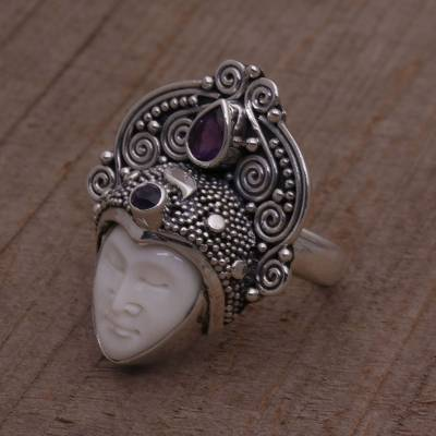 silver rings uk crime rate - Amethyst and Sterling Silver Face Cocktail Ring from Bali