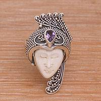 Amethyst wrap ring, 'Peacock Prince' - Amethyst 925 Silver and Bone Face Wrap Ring from Bali