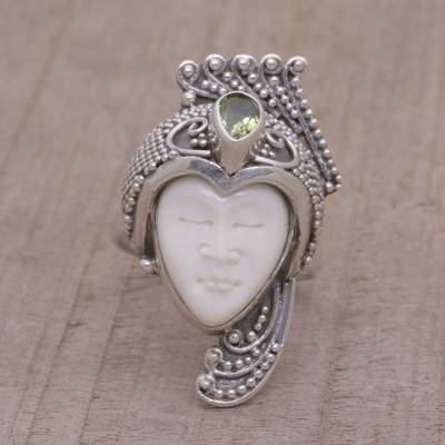 cartier love ring silver - Peridot Sterling Silver and Bone Face Wrap Ring from Bali