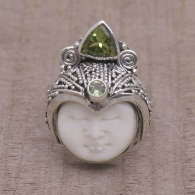 Peridot cocktail ring, 'Palace Knight' - Handcrafted Face-Shaped Peridot Cocktail Ring from Bali