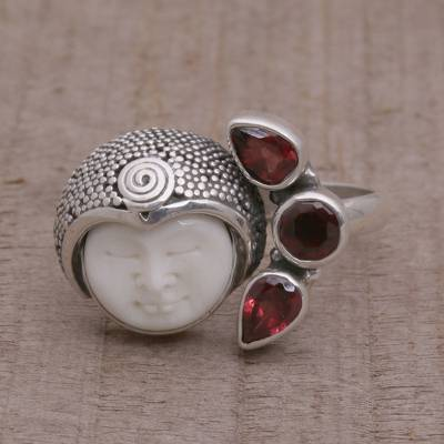 Garnet and Sterling Silver Wrap Ring from Bali