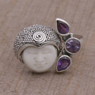 silver jewellery online - Amethyst and Sterling Silver Wrap Ring from Bali