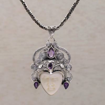 Amethyst pendant necklace, 'Bedugul Prince' - Amethyst and Sterling Silver Pendant Necklace from Bali