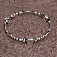 Sterling silver bangle bracelet, 'Square Reflection' - Sterling Silver Square Shape Bangle Bracelet from Bali
