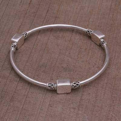 Sterling silver bangle bracelet, Square Reflection