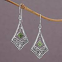 Peridot dangle earrings, 'Gianyar Dangle' - Handmade Sterling Silver Green Peridot Dangle Earrings