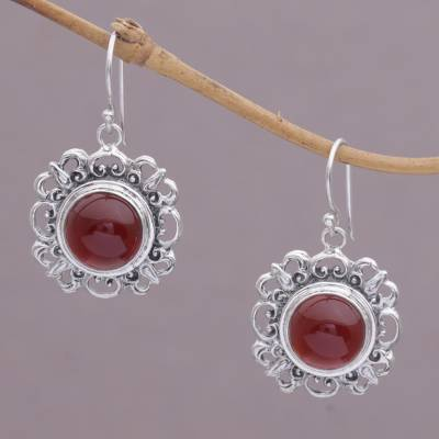 Carnelian dangle earrings, 'Jewel of Bali' - Carnelian and Sterling Silver Dangle Earrings from Indonesia