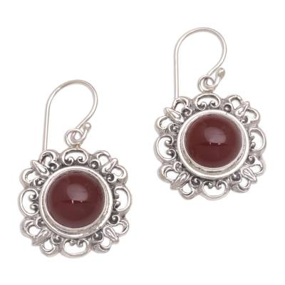 Carnelian and Sterling Silver Dangle Earrings from Indonesia