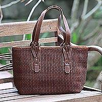 Leather shoulder bag, 'Malioboro Mahogany Bliss' - Handcrafted Leather Shoulder Bag in Mahogany Brown from Bali