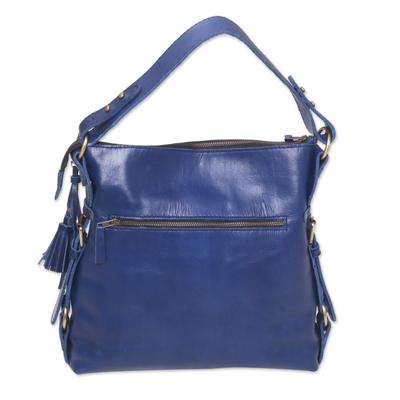 Handcrafted Indigo Leather Handle Handbag from Bali