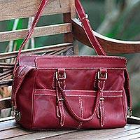 Leather shoulder bag, 'Maroon Passion' - Handcrafted Leather Shoulder Bag in Maroon from Bali