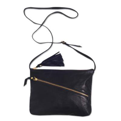 Black Leather Shoulder Bag with Zipper and Adjustable Strap