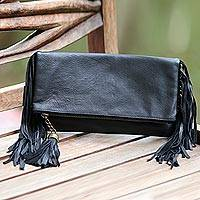 Leather clutch handbag, 'Nightlife' - Handcrafted Black Fringed Leather Clutch Handbag from Bali