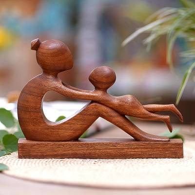 Wood sculpture, 'Playful Mother' - Hand-Carved Suar Wood Mother and Child Sculpture from Bali