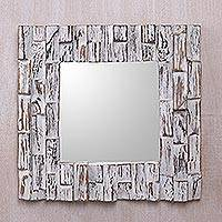 Wood wall mirror, 'Wonderland Entrance' - Square Wall Mirror with Whitewashed Hand Carved Wood Frame