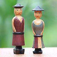 Wood figurines, 'Happy Farmers' (pair) - Hand Carved Wood Figurines of a Farmer Couple from Bali