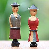 Wood figurines, 'Jolly Farmers' (pair) - Two Hand-Carved Wood Figurines of a Farmer Couple from Bali