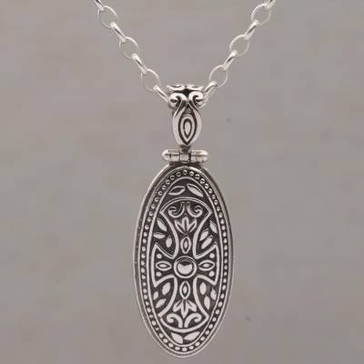 Sterling silver pendant necklace, 'Shield of Bravery' - Sterling Silver Necklace with Cross Pendant and Rolo Chain