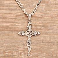 Sterling silver pendant necklace, 'Vine Cross' - Women's Sterling Silver Handmade Cross Necklace from India