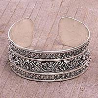 Sterling silver cuff bracelet, 'Dotted Temple' - Dot Motif Sterling Silver Cuff Bracelet from Bali