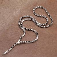 Sterling silver Y necklace, 'Snaking Tail' - Sterling Silver Naga Chain Y Necklace from Bali