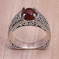 Carnelian single stone ring, 'Uluwatu Temple' - Carnelian and Sterling Silver Single Stone Ring from Bali