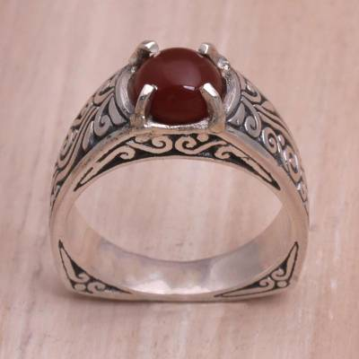silver ring size i vote - Carnelian and Sterling Silver Single Stone Ring from Bali