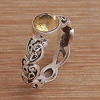 Citrine single stone ring, 'Temple Creeper' - Citrine and Sterling Silver Single Stone Ring from Bali