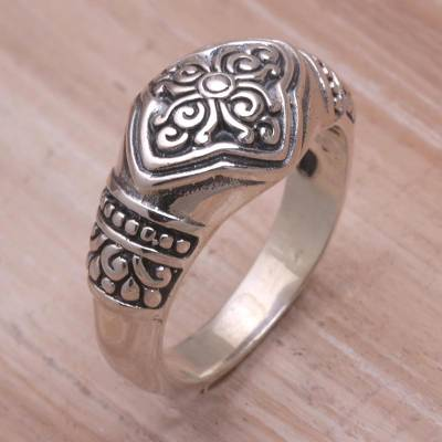 925 Sterling Silver Floral Cocktail Ring from Bali
