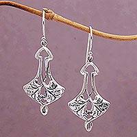 Sterling silver dangle earrings, 'Arrow Petals' - Handcrafted Sterling Silver Dangle Earrings from Bali