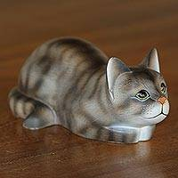 Wood sculpture, 'Resting Kitty' - Resting Wood Cat Sculpture in Grey and White from Bali