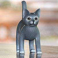 Wood figurine, 'Curious Cat' - Standing Wood Kitten Figurine in Grey and White from Bali